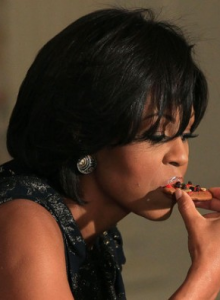 Michelle Obama Eating a Cookie